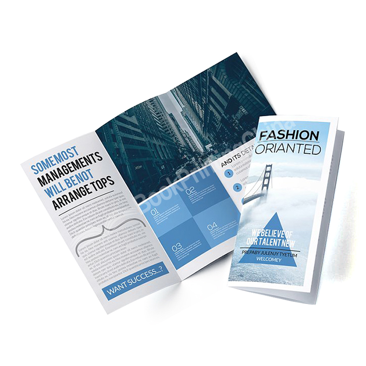 Custom A4 Color Printed Matte Laminate Tri- fold Brochure
