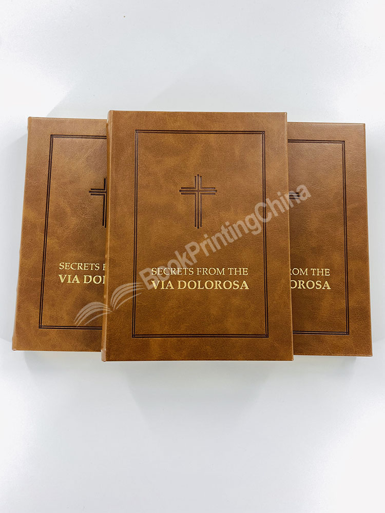 Hot sale Custom  PU leather Hardcover bible book Printing with gold foil stamping